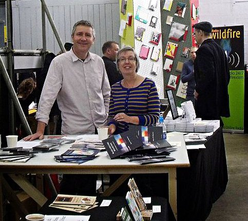 Nick Pearson and Jane Seabourne with the book stall at the States of Independence (West) book fair in Digbeth, Birmingham.